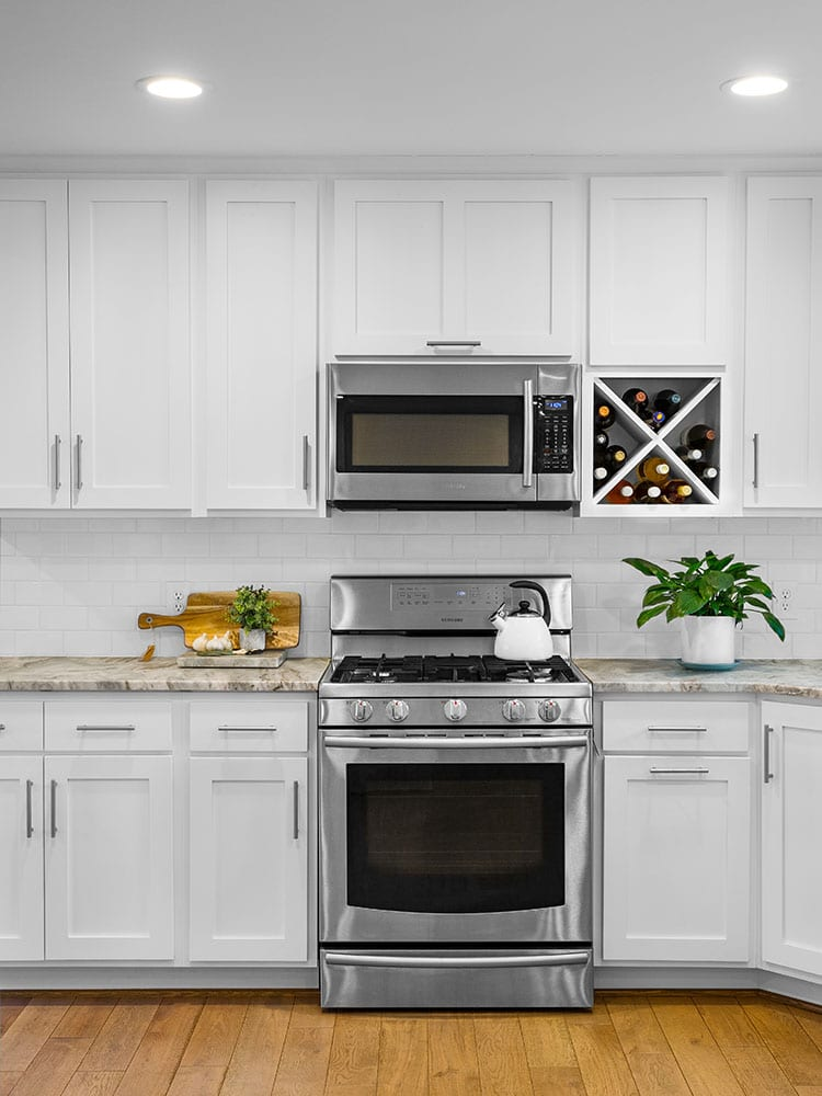 Chaucer view of oven and fruit on countertops