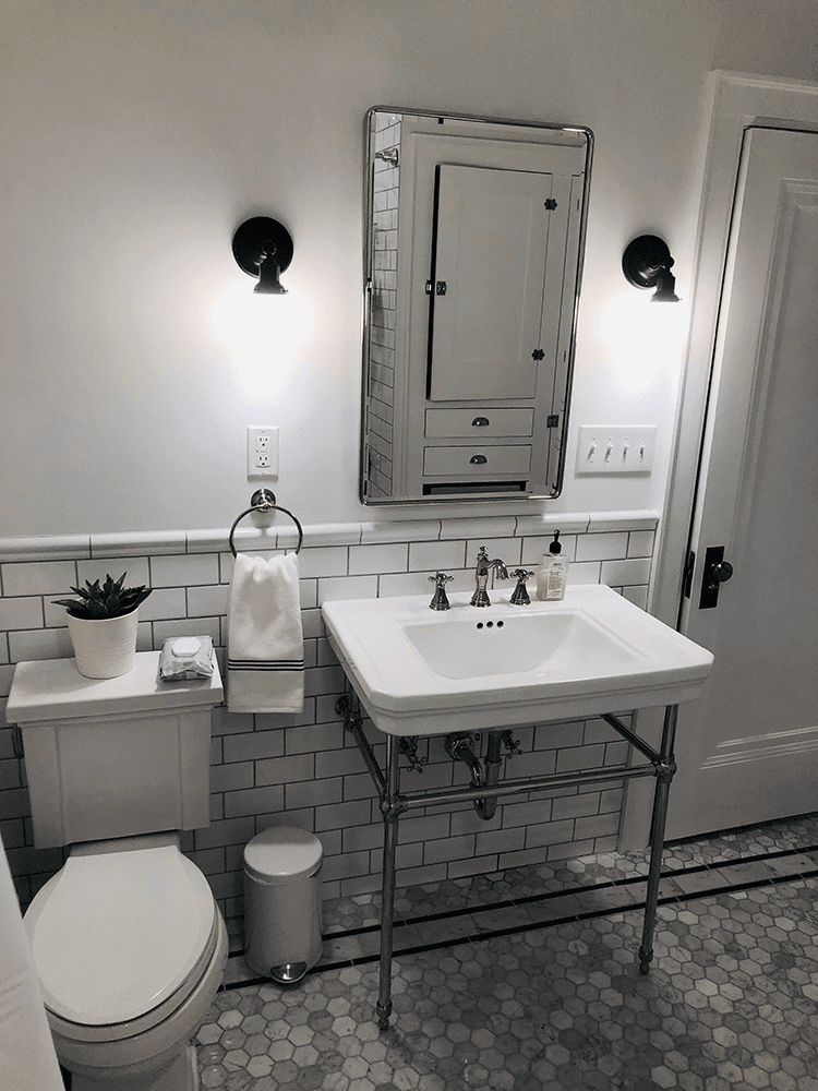 standalone bathroom sink with rectangle mirror edited in black and white