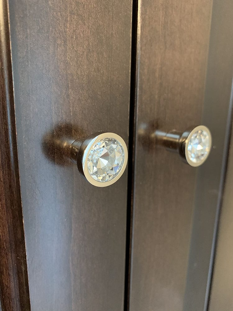 crystal door knobs on amish cabinetry